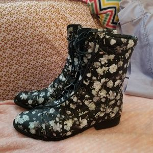 Black with floral print boots.